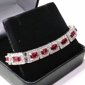 Jewelry - 1 Carat Red Ruby 14K White Gold Bracelet Wedding
